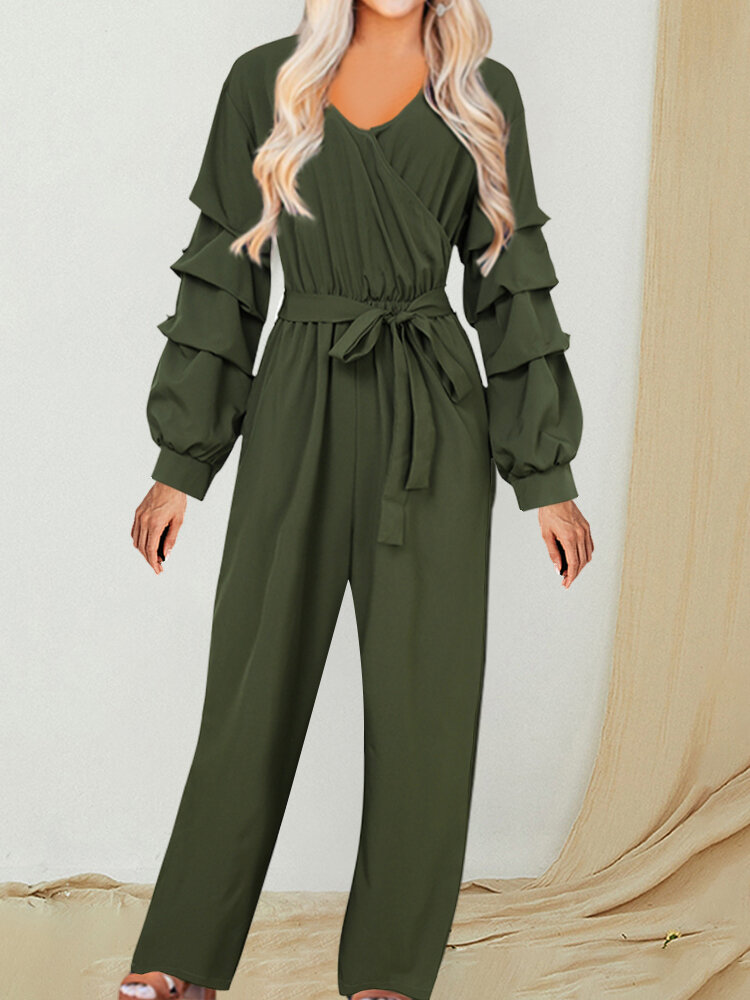 Casual V-neck Side Pockets Bowknot Belt Long Sleeve Jumpsuit