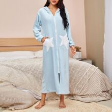 Star Patched Zip Up Hooded Flannel Robe