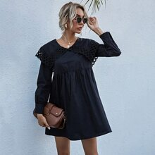 Eyelet Embroidery Sailor Collar Smock Dress