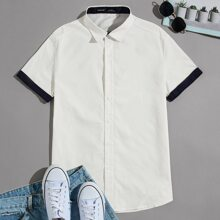 Guys Contrast Rolled Cuff Shirt
