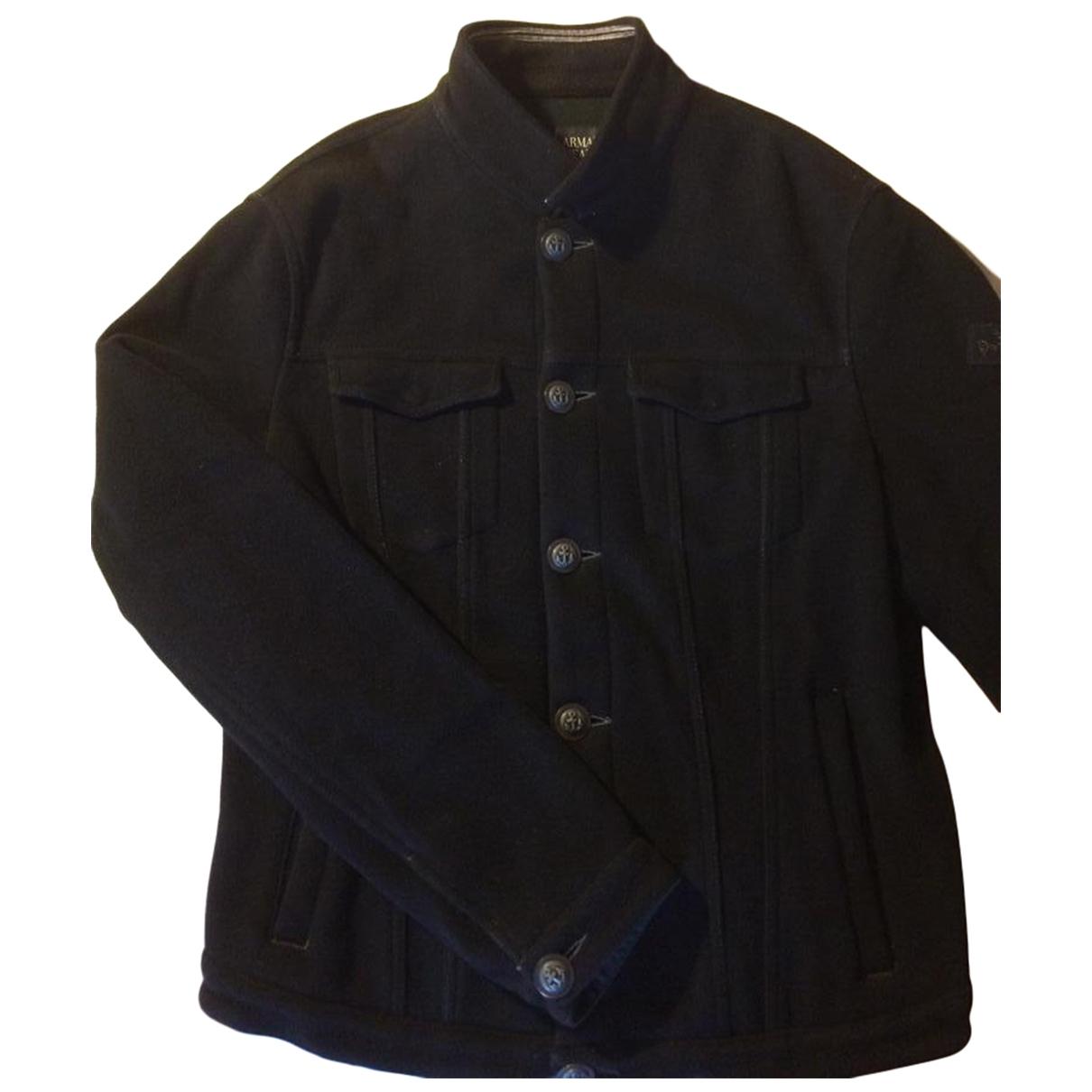 Armani Jeans \N Jacke in  Schwarz Wolle