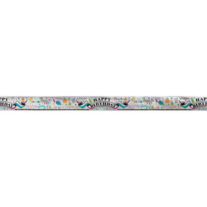 Foil Doodle Happy Birthday Banner for Home Party Decoration, 12ft For Birthday Party