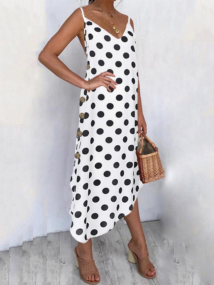 Polka Dot Side Button Spaghetti Straps Plus Size Dress