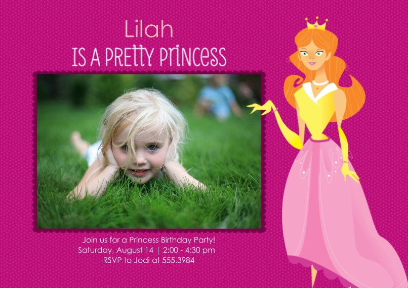 Kids Birthday Party Invites Flat Glossy Photo Paper Cards with Envelopes, 5x7, Card & Stationery -Pretty Princess Birthday