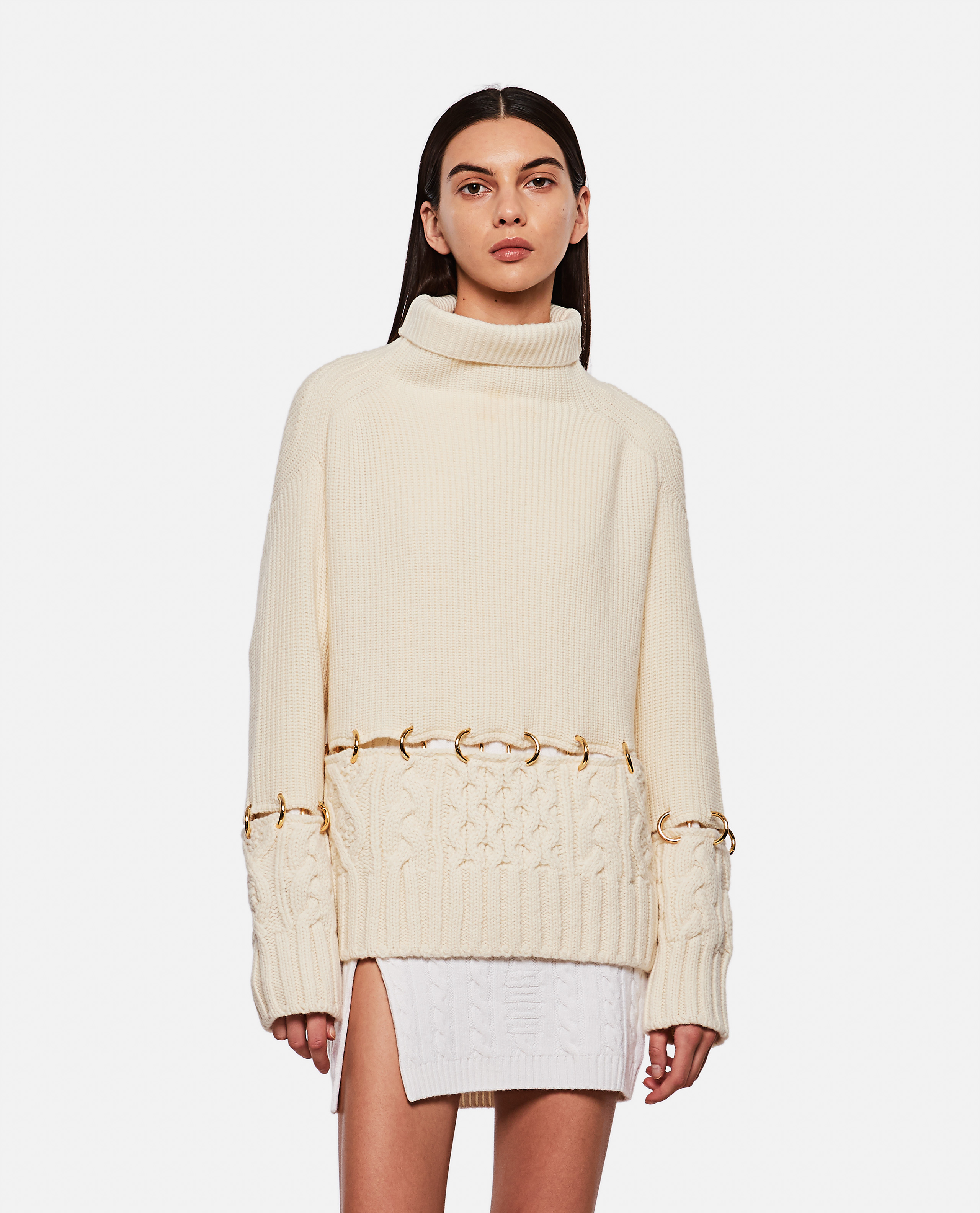 Wool sweater with ring detail