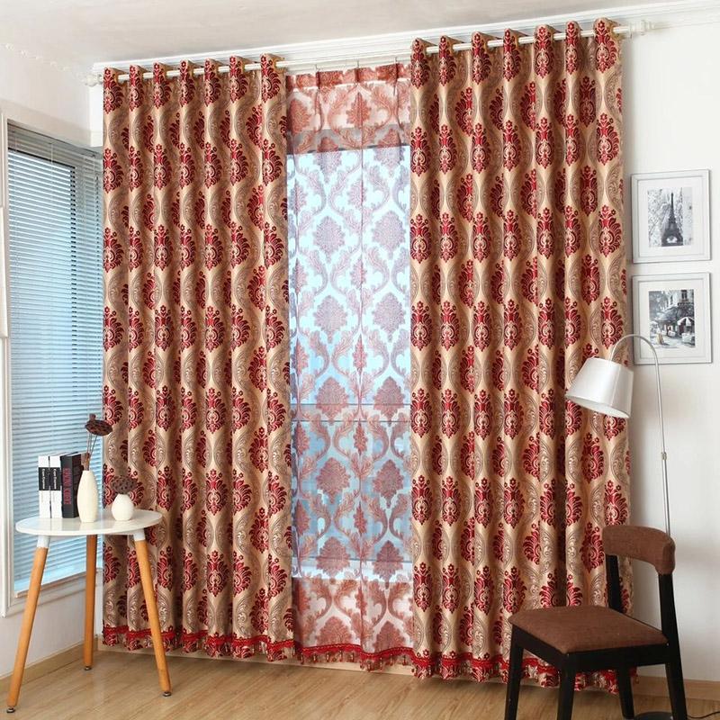 Luxury Elegant Jacquard Burgundy Ultraviolet-Proof Curtains/Window Screens