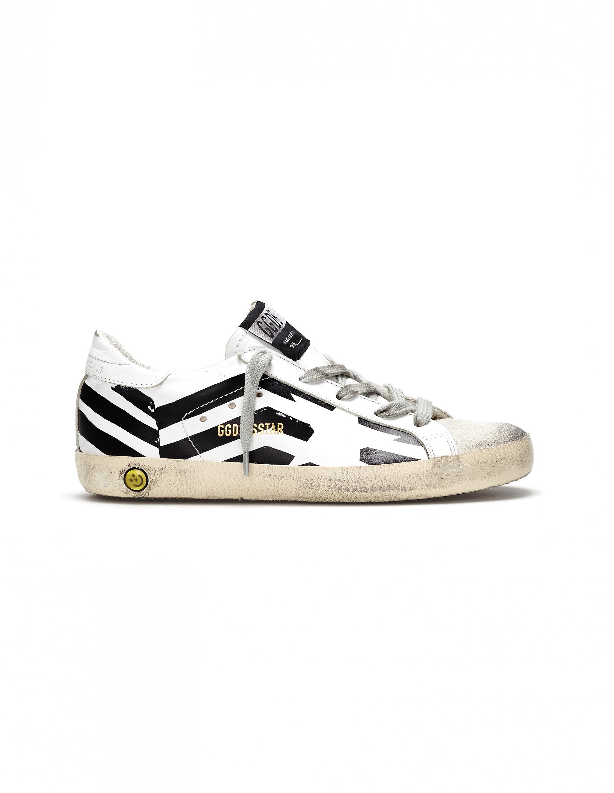 Golden Goose kids Black & White Leather Superstar Sneakers