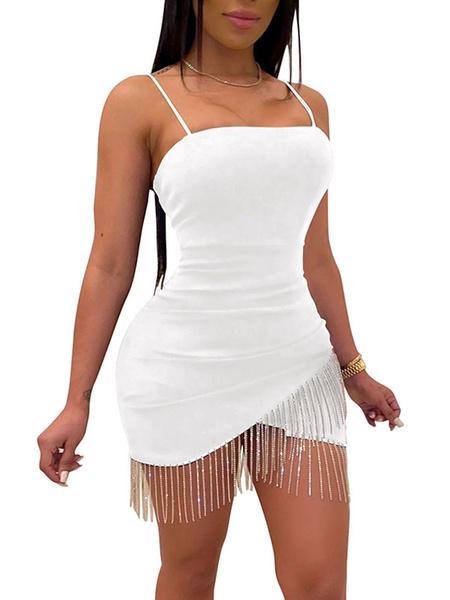 Milanoo Club Dress White Fringe Sleeveless Sexy Dress