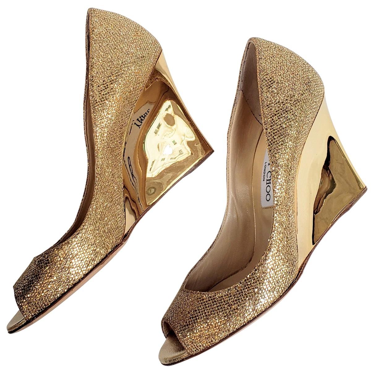 Jimmy Choo \N Gold Glitter Heels for Women 38.5 EU