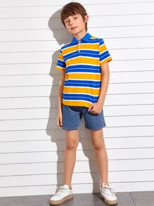 Boys Striped Polo Shirt