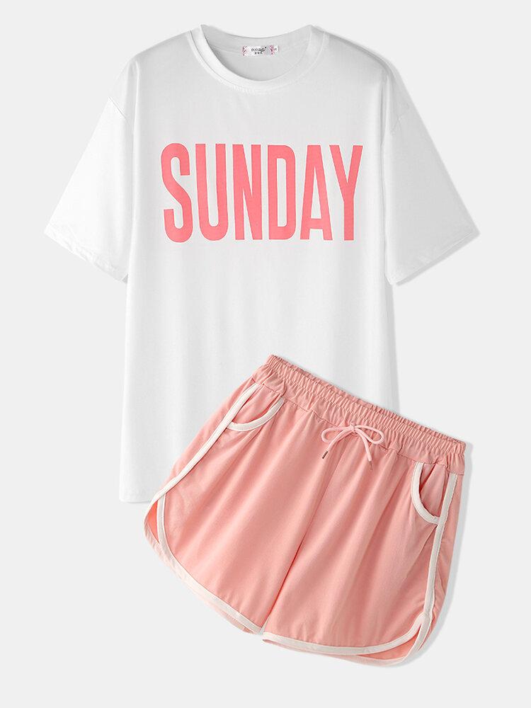 Women Sports Loungewear Letters Print Short Sleeve Comfy Pajamas With Boyshorts