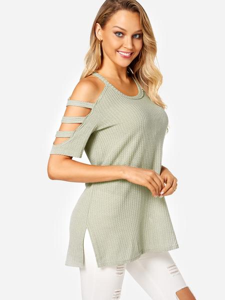Yoins Green Slit Cold Shoulder Fashion T-shirts