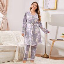 3 piezas conjunto de pijama con cinturon con estampado floral