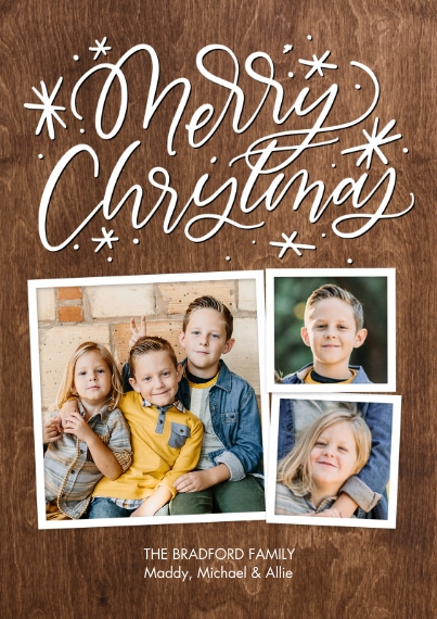 Christmas Photo Cards 5x7 Cards, Standard Cardstock 85lb, Card & Stationery -Christmas Swirls Script by Tumbalina