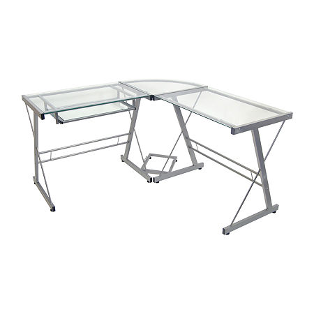 Home Office L-Shaped Corner Computer Desk, One Size , Silver