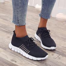 Zapatillas Deportivas A rayas Negro comodo