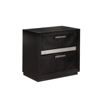 BM215826 2 Drawers Chevron Planked Nightstand with Crystal Accents  Dark