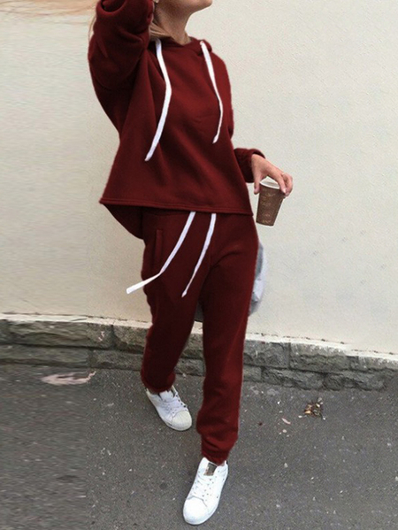 Yoins Hooded Design Long Sleeves Two Piece Outfit