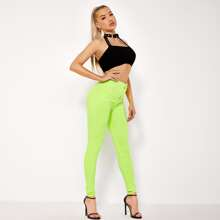 BLUES Neon Lime schmale Jeans mit hoher Taille