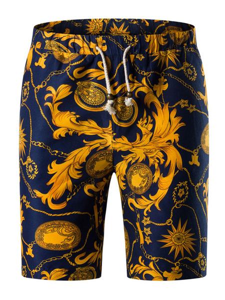 Milanoo Men Beach Shorts Floral Print Capri Shorts Drawstring Shorts Cotton