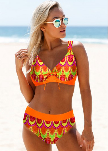 Sexy Bikinis Tribal Print Spaghetti Strap Orange Bikini Set - 16