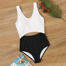 Rib Two Tone Cut-out One Piece Swimsuit