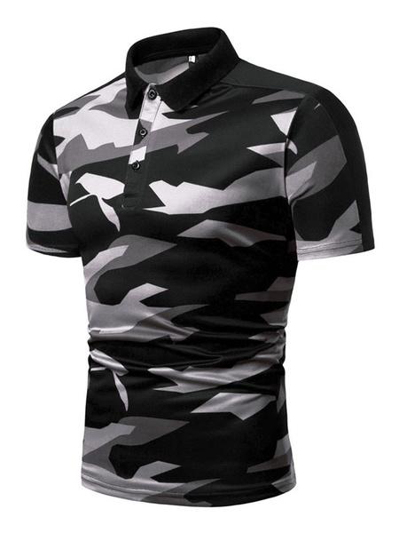 Milanoo Men Polo Shirt Turndown Collar Cotton Blend Camouflage Short Sleeves Summer Daily Top