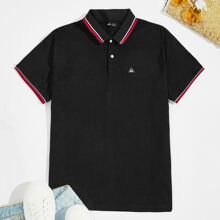 Men Patched Detail Striped Collar and Cuff Polo Shirt