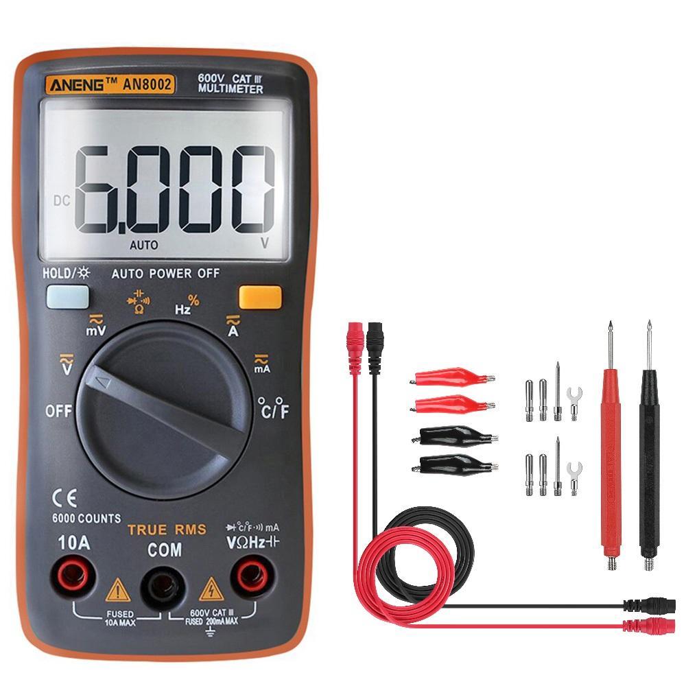 ANENG AN8002 Orange Digital True RMS 6000 Counts Multimeter AC/DC Current Voltage Frequency Resistance Temperature Teste