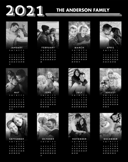 Calendar 11x14 Wood Panel, Home Décor -Graphic Year