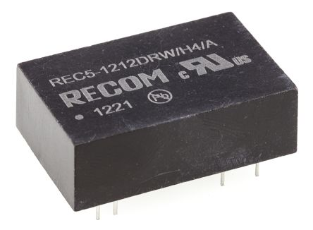 Recom REC5 5W Isolated DC-DC Converter Through Hole, Voltage in 9 → 18 V dc, Voltage out ±12V dc Medical Approved