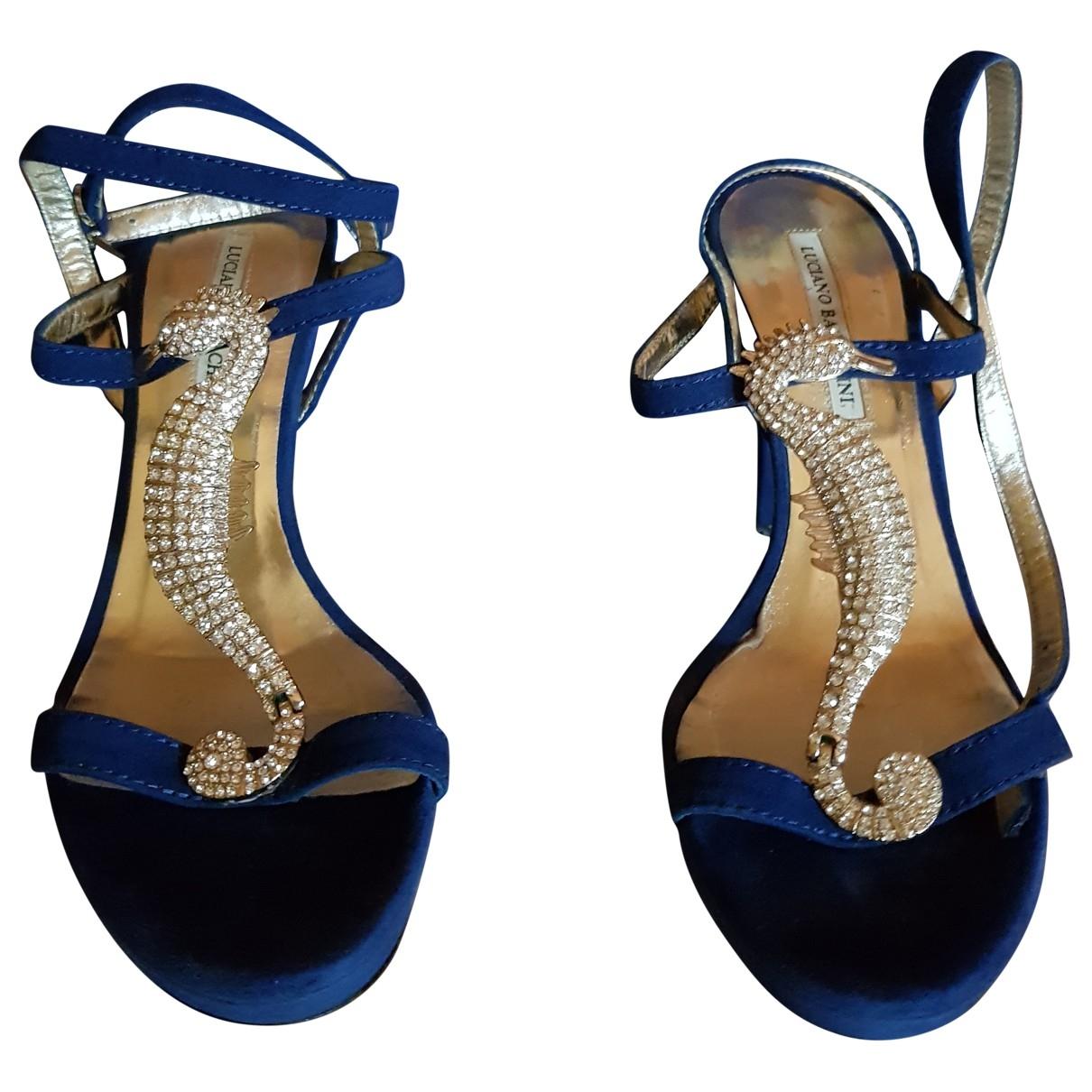 - Sandales   pour femme en suede - bleu