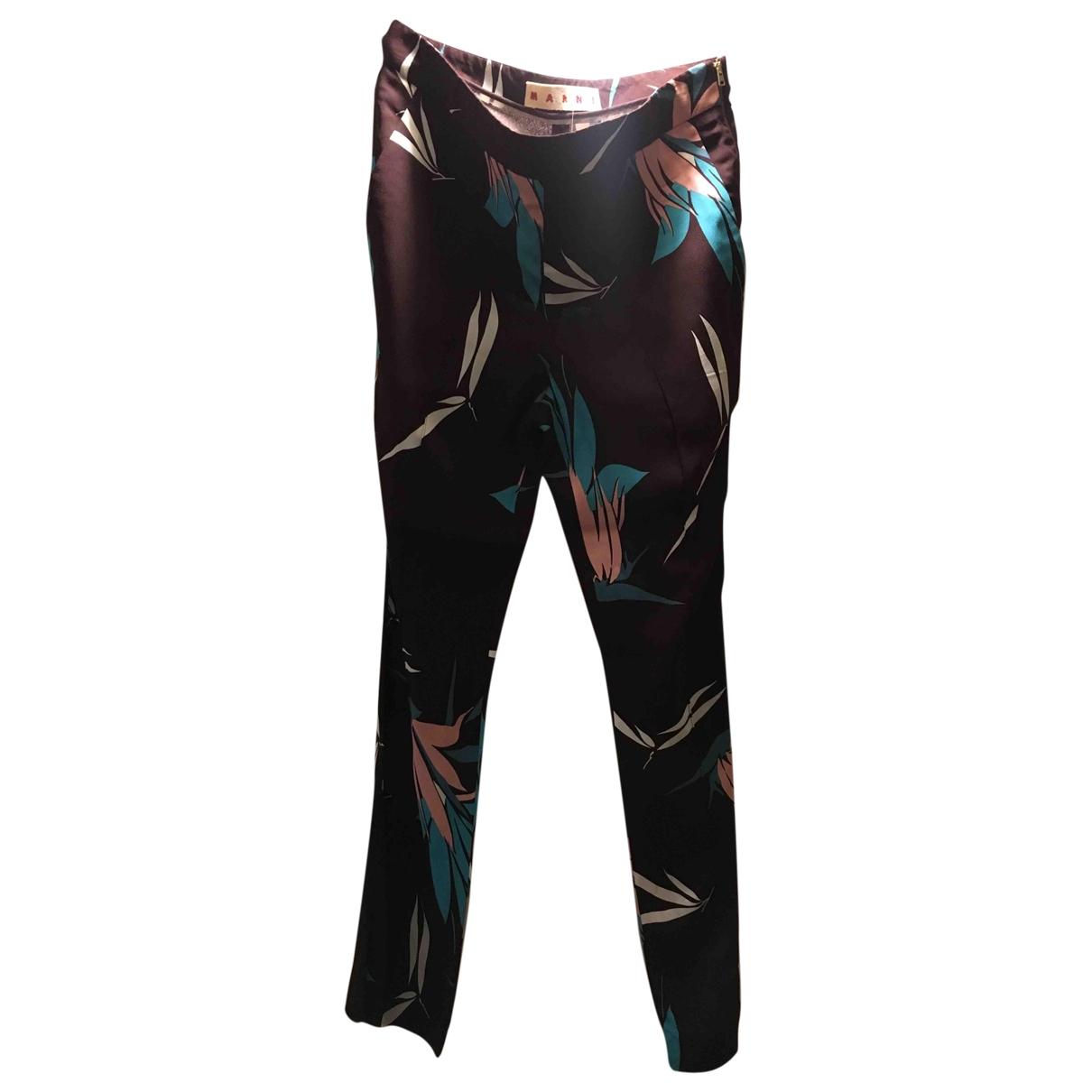 Marni \N Burgundy Silk Trousers for Women 38 IT