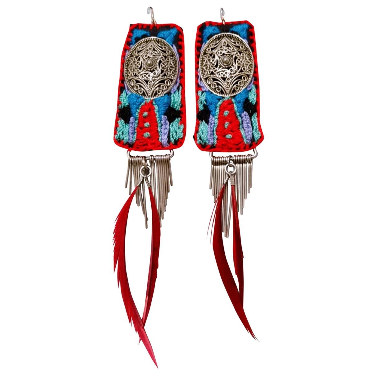 - Boucles doreilles Motifs Ethniques pour femme en toile - multicolore