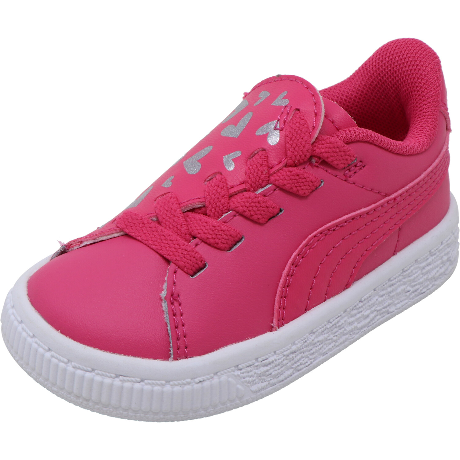 Puma Girl's Basket Crush Glitter Heart Ac Inf Fuchsia Purple / White Ankle-High Sneaker - 4M