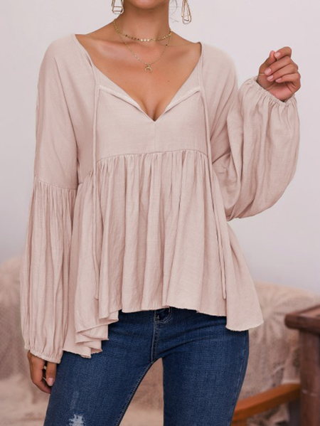 Yoins Tie-up design V-neck Puff sleeves Blouse