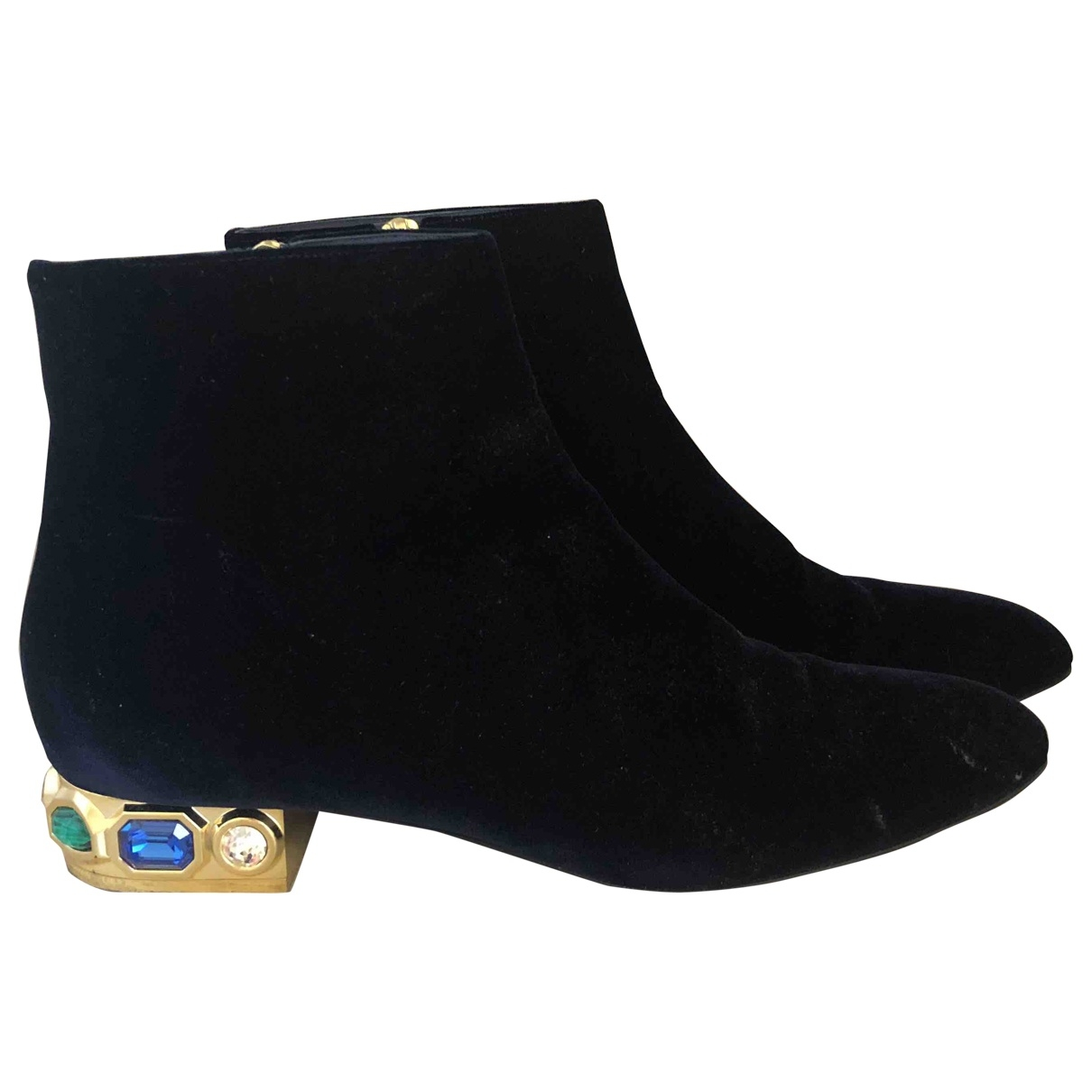 Casadei \N Blue Leather Ankle boots for Women 39.5 EU
