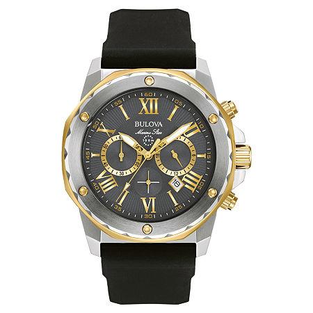 Bulova Marine Star Mens Chronograph Black Strap Watch-98b277, One Size , No Color Family