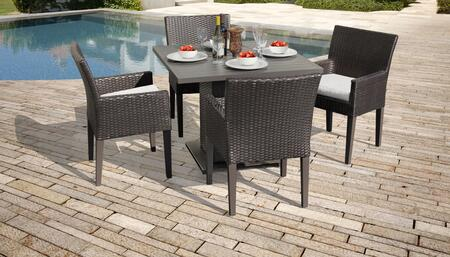 Belle Collection BELLE-SQUARE-KIT-4DCC-WHITE Patio Dining Set with 1 Table   4 Arm Chairs - Wheat and Sail White