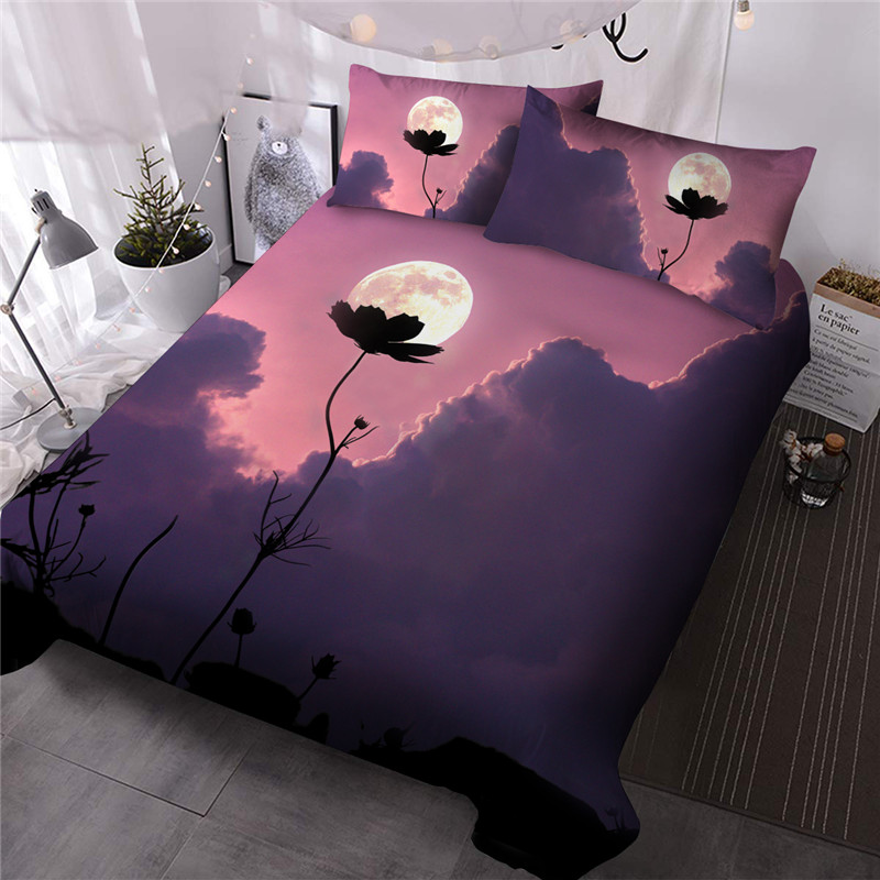 Creative Flower Comforter Set Three-Piece Set Hand Wash Reactive Printing Polyester Bedding Sets