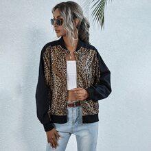 Bomber Jacke mit Leopard Muster und Farbblock