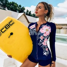 Bikini Badeanzug mit Blumen & Blatt Muster und Reissverschluss