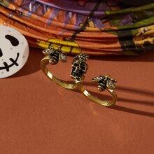 Skull & Bee Decor Cuff Ring