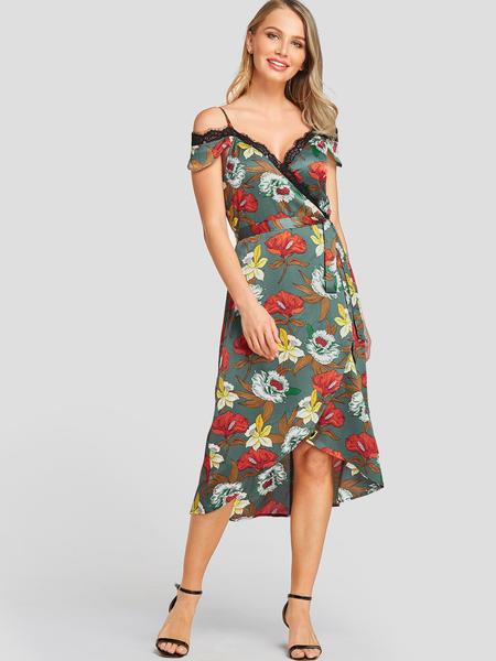 YOINS Green Floral Print Spaghetti Strap Cold Shoulder Dress
