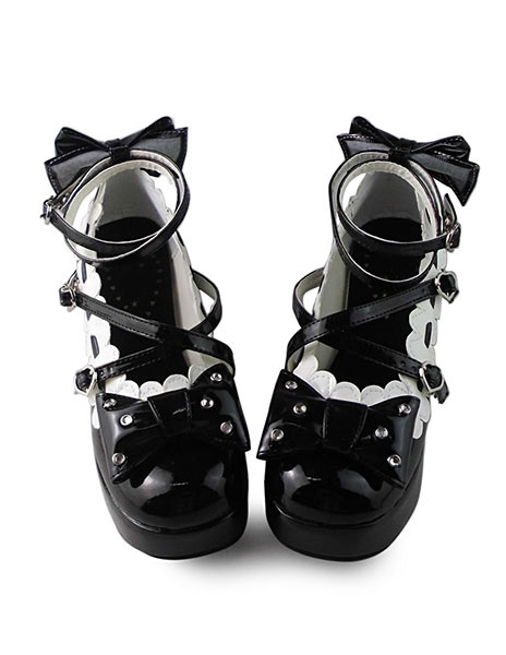 Milanoo Sweet Black Square Heels with Bows and White Trim