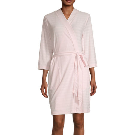 Liz Claiborne Textured Womens Robe Long Sleeve Knee Length, Large , Pink