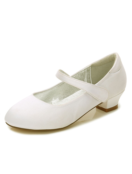 Milanoo Flower Girls Shoes Champagne Round Toe Chunky Heel Pump Shoes