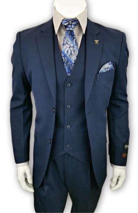 Alberto Nardoni Single Breasted 3 Piece Navy 2 Button Notch Lapel suit