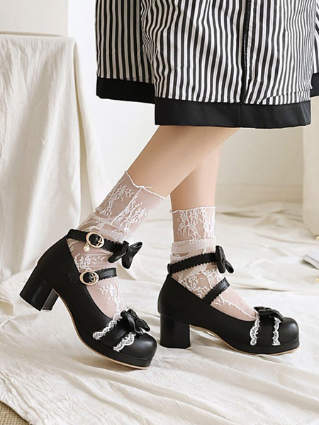 Milanoo Sweet Lolita Footwear Bows Lace PU Leather Chunky Heel Lolita Pumps