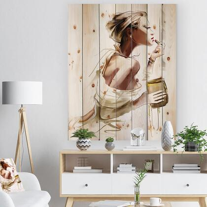 WD6659-36-46 Fashion Woman - Abstract Portrait Print On Natural Pine Wood -